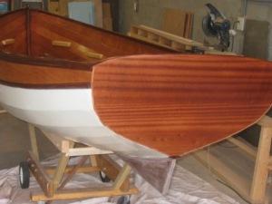 wooden catspaw rowboat